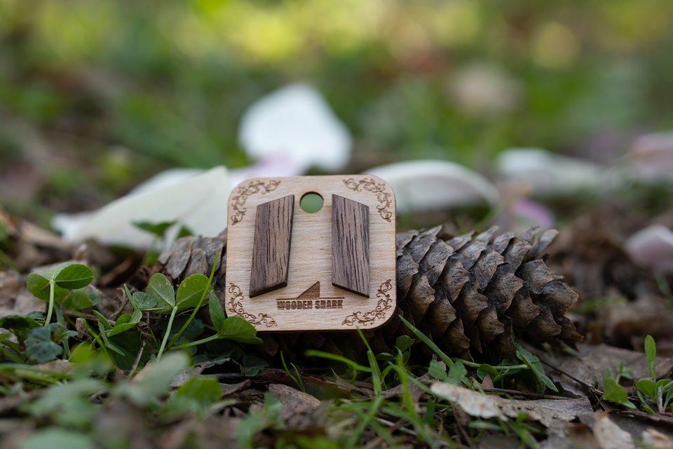 Náušnice peckové Ořech rovnoběžník